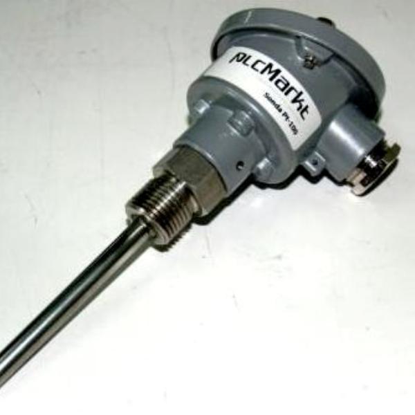 """Sonda Pt100, 8x100mm, con conexión en cabezal DIN-B y rosca 1/2""""G"""