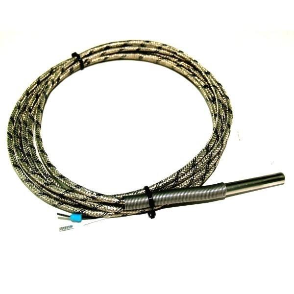 Termopar tipo J, bulbo de 7x50mm, con 2,5 metros de cable de malla