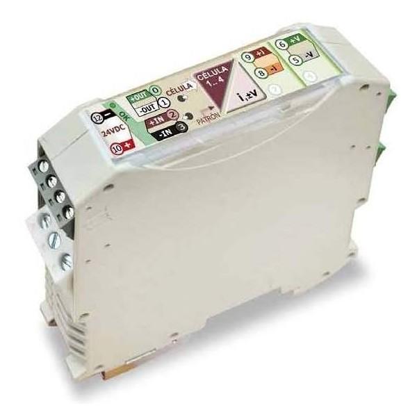 Convertidor 1 hasta 4 células de carga / salida mA-V. Multitensión