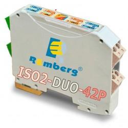 ISO2-DUO-42P AISLADOR CAPTADORES ACTIVOS 2 CANALES, E: 2x4/20mA / S: 2x4/20mA(20/4mA) (pasiva) Bucle 24VDC